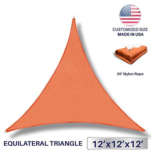 Windscreen4less 12 x 12 x 12 Sun Shade Sail UV Block Fabric Canopy in Orange Triangle for Patio Garden Patio Customized Sizes Available (3 Year Warranty)
