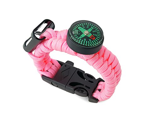 Off-Grid Gear - Girls Survival Paracord Bracelet with Ferro Rod Fire Starter Kit, Emergency Whistle, Waterproof Compass & Bottle Opener - Super Strong Paracord - (Soft (Rod Grids)