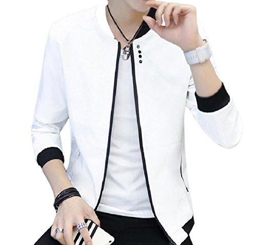 Solid Jacket Zip Coat White Pockets Color Men's Soft Collar XINHEO Stand q1P4XBxw