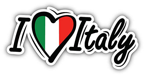 KW Vinyl I Love Italy Flag Slogan Truck Car Window Bumper Sticker Decal - Italy Weather