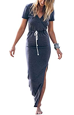 LXS STORE Women Sexy V Neck Casual Beach Club Maxi Dress Short Sleeve Long Dress