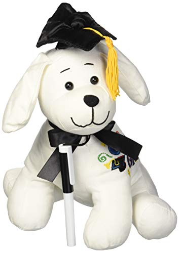 "Graduation Autograph Dog With Pen, Black Hat - Congrats Grad! - Multiple Sitting Sizes to Choice - Hound Dog Gift Toys for Graduate Student Party (10.5""H- Medium) from Charming Toys"