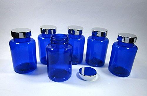 Empty Plastic Pill Bottle Cobalt Blue Container Medicine Drug Vitamin Capsule Supplements Cream Cosmetic 150 g (Pack of 12 Bottle)