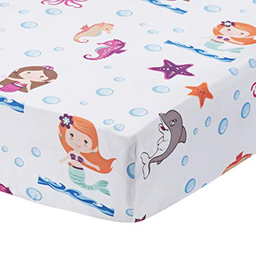 (Baby Girl Fitted Crib Sheet Mermaid Adventures, 100% Soft Microfiber, Breathable and Hypoallergenic Baby Sheet, Fits Standard Size Crib Mattress 28in x 52in, Nursery Sheet )