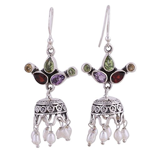 NOVICA Multi-Gem Peridot Cultured Freshwater Pearl .925 Silver Chandelier Earrings, Fairy Princess'