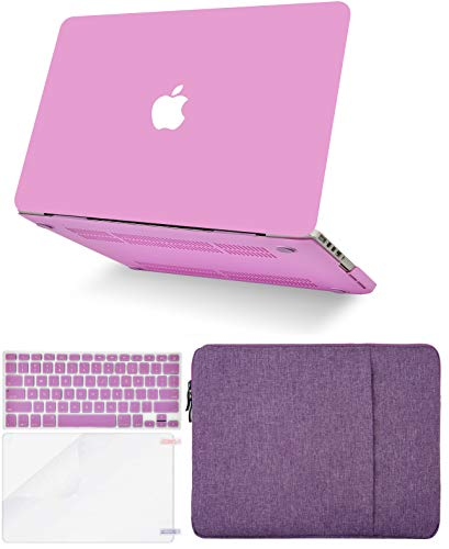 """KECC Laptop Case for Old MacBook Pro 13"""" Retina (2015-) w/Keyboard Cover + Sleeve + Screen Protector (4 in 1 Bundle) Plastic Hard Shell Case A1502/A1425 (Lavender)"""