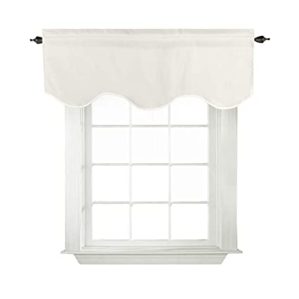 Turquoize White Valances For Windows Ultra Soft Thermal Insulated Curtain  Valances For Bedroom/Living Room