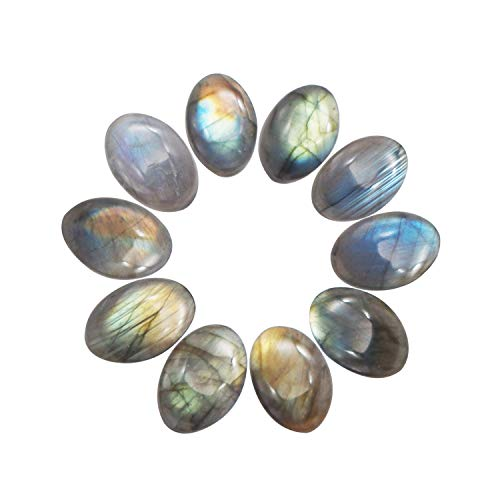 NATURSTON Natural Labradorite Cabochon Oval Mixed Palm Stone Healing Crystal Beads CAB Semi-Precious Wholesale Gemstone Beads (Mixed No Holes) (Oval-Wholesale-S-01)