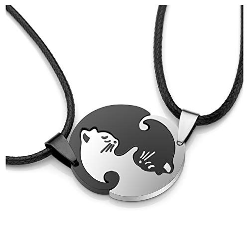 (PiercingJ 2-4pcs Set Free Engraving Custom Name Black and White Yin Yang Cat Matching Cute Cat Jigsaw Puzzle Stainless Steel Pet Keychain Pendant Necklace for Couples Lover)