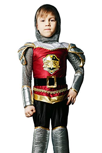 Dragon Knight Medieval Costumes Child (Kids Boys Valiant Knight Halloween Costume Dragon Slayer Dress Up & Role Play (6-8 years, dark red, silver, gold,)