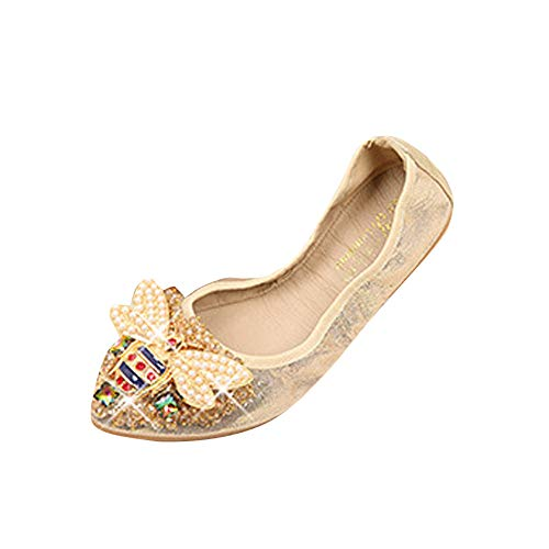 BOLUOYI Maternity Shirts for Work Woman Plus Size Crystal Flat Shoes Comfortable Rhinestone Soft Bee Shoes Gold 40 ()