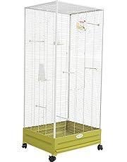 Zolux Camille Voliere für den Innenbereich, für exotische Vögel, 55 x 66 x 152 cm, Olivgrün