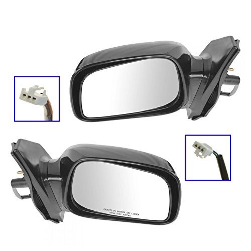 Power Side View Mirrors Black Left & Right Pair Set for 03-08 Toyota Corolla ()