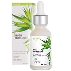 InstaNatural Vitamin C Skin Clearing Serum - Anti Aging Formula with Retinol & Salicylic Acid - Natural & Organic Wrinkle, Acne, Dark Spot, Fine Line & Hyperpigmentation Defying Facial Product - 1 OZ