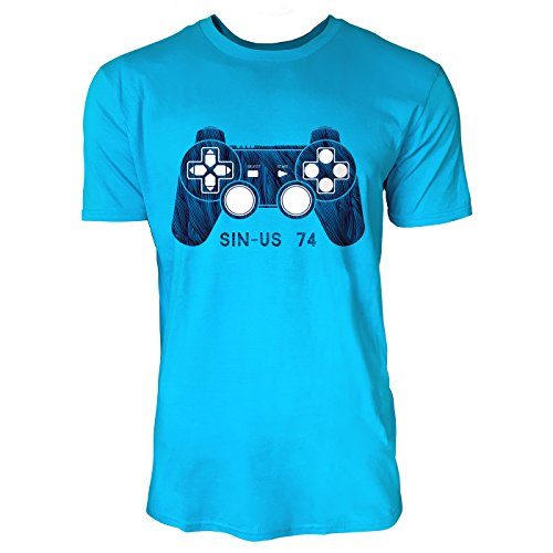 SINUS ART ® Game Controller Herren T-Shirts in Karibik blau Cooles Fun Shirt mit tollen Aufdruck