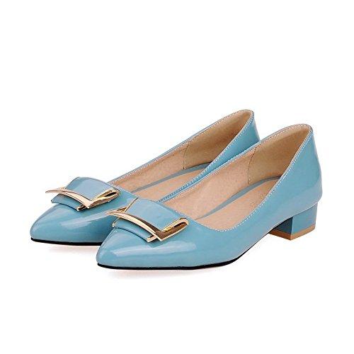 Amoonyfashion Femmes Pointu Bout Fermé Talons Bas Tirer Sur Des Pompes Solides-chaussures Bleu