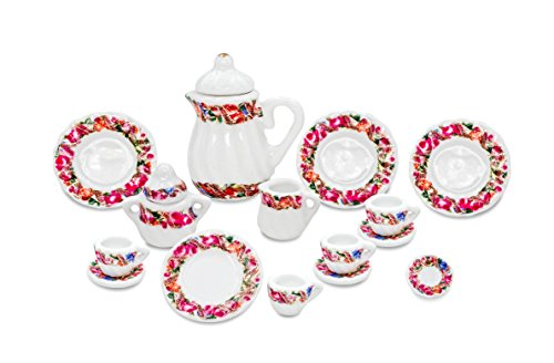 Dollhouse Tea - Zamonji Dollhouse Miniature Teapot Dishes Teacup Sugar and Creamer Set - 15pc 1/12 Scales Red Floral Pattern