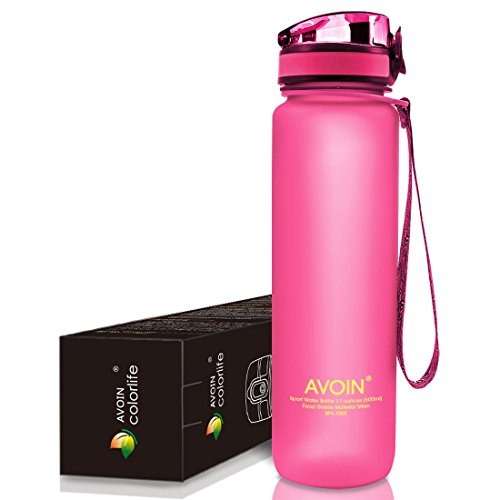 AVOIN colorlife 17oz & 32oz Sports Water Bottle (Many Color Option) - Fast Flow, Flip Top Leak Proof Lid w/ One Click Open - Non-Toxic BPA Free & Eco-Friendly Tritan Co-Polyester Plastic