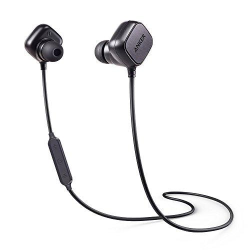 Anker SoundBuds Sport IE20, In Ear Bluetooth Kopfhörer Ohrhörer mit Smart Magnet Funktion, Kabellose Headset mit Mikrofon, aptX, CVC 6.0 Geräusch Reduzierung, 8-Stunden-Spielzeit (Schwarz)