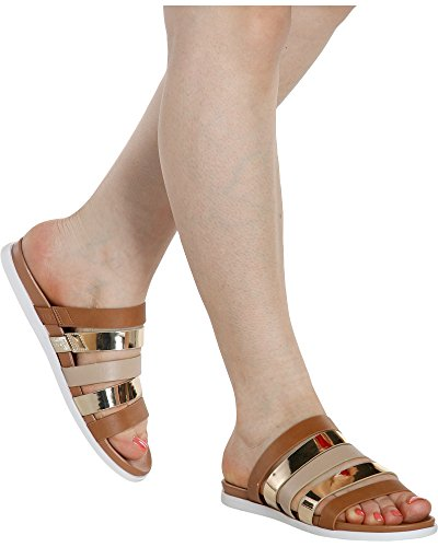Bamboo Women's Ruth Strappy Slides (Available in 3 Colors),Tan/Multi,9 (Metallic Multi Strap)