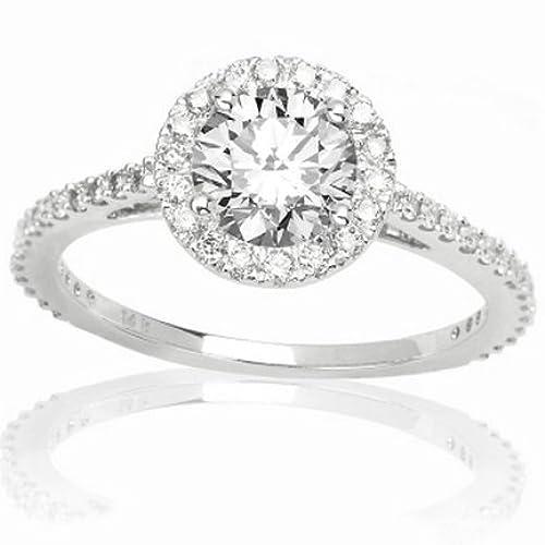 0.72 Carat Round Cut/Shape Classic Round Halo Diamond Engagement Ring( I-J Color , I1-I2 Clarity )