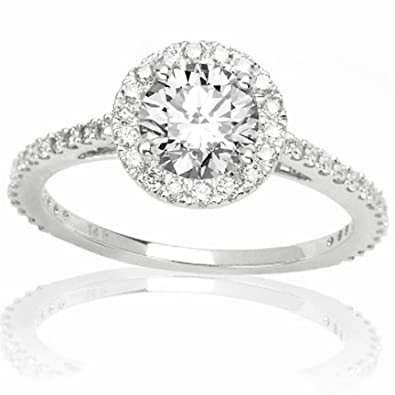 1 04 Carat Round Cut Shape 14k White Gold Classic Yet Unique Halo