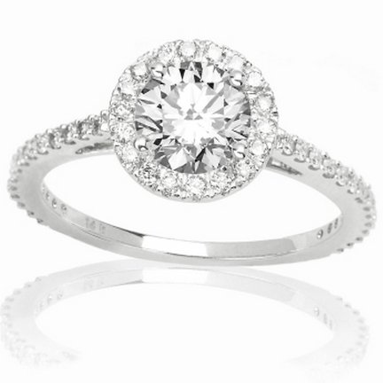 1 Carat Round Cut/Shape Classic Yet Unique Halo Style Pave Set Diamond Engagement Ring 14K White Gold with a 0.57 Carat (I-J Color, I2 Clarity Center Stones Center Stones) (Style Pave Set Diamond)