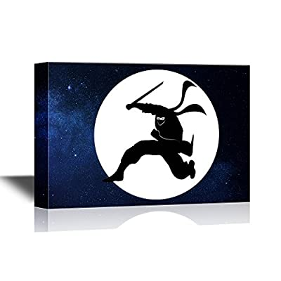 Canvas Wall Art - Ninja with a Sword Jumping in The Night Sky Under The Moon - Gallery Wrap Modern Home Art | Ready to Hang - 12x18 inches