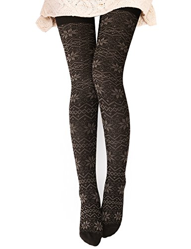 DELUXSEY Womens Snowflake Knitted Patterned Tights Opaque Tights (Brown + Khaki)