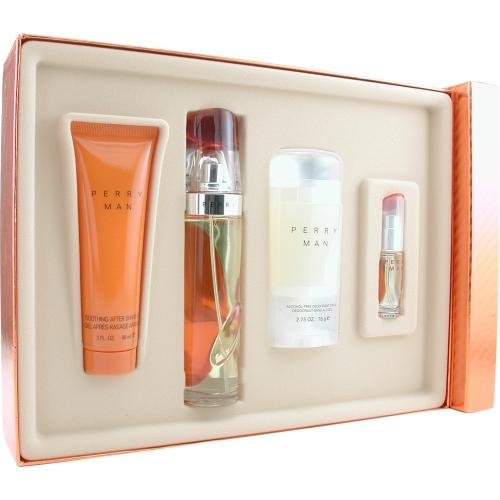 Perry Ellis Perry for Men-4 Pc Gift Set 3.4-Ounce EDT Spray, 3-Ounce Soothing After Shave Gel, 2.75-Ounce Deodorant Stick, 7.5ml EDT Spray I0018428