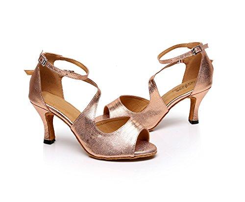 Evening Shoes 8 Stylish Women's Minitoo Wedding M US Latin TQJ5009 Rose Dance Tango Synthetic Ballroom Sandals Gold PwxAqUCv