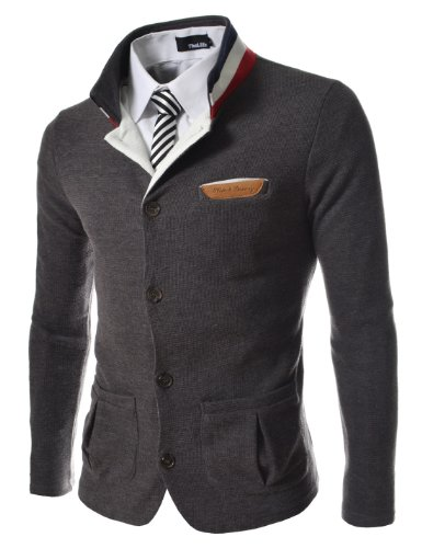 TheLees Men's Slim Stretchy China Collar Knitted Cardigan