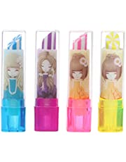 4 Pcs Cute Lipstick Shape Rubber Eraser Student Stationery Kids Students Gift Durable and UsefulAttractive