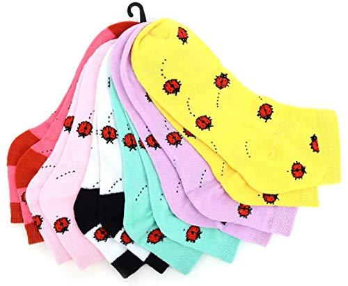 - Women's Fun Low Cut Socks ~ Set of 6~Sock Size 9-11/ She Size 4-10~Great Fun Gift! (Ladybug)