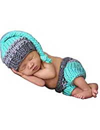 ISOCUTE Newborn Photography Props Baby Boy Crochet Hat Pants Photo Shoot Outfits