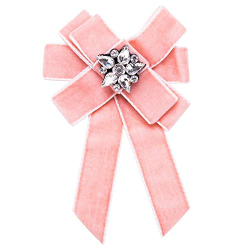 SKZKK Rhinestone Flower Pre-Tied Ribbon Zinc Alloy Neck Bow Tie Pin Broaches for Women Elegant Brooch Pin Women for Women Brides Created,Pink ()