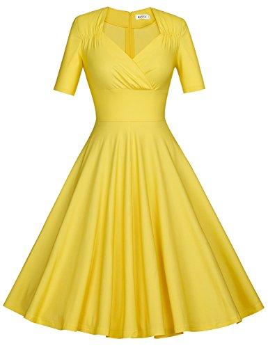 MUXXN Vestido Rosa de Velada Elegante Retro para Mujer Yellow