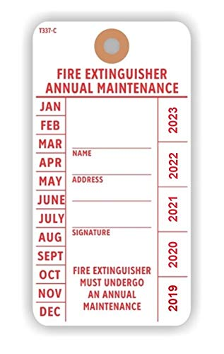 FIRE Extinguisher Annual Maintenance Tag, 5.75'' x 3'', Red on White 13 Pt Cardstock w Reinforced Hole - Pack of 100 Tags by LINTON MAILING SUPPLIES