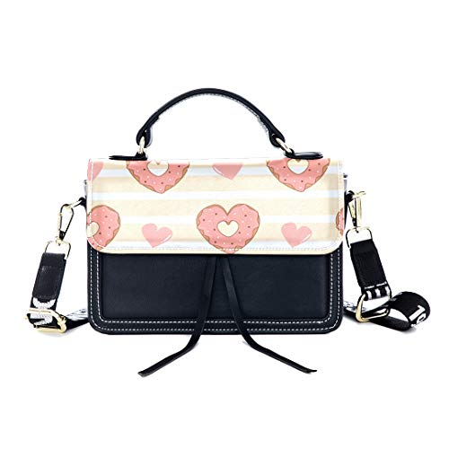 ag Heart Shaped Donut Dessert Color Print Shoulder Bag Top Handle Tote Flap Over Satchel Purses Crossbody Bags Messenger Bags For Women Ladies ()