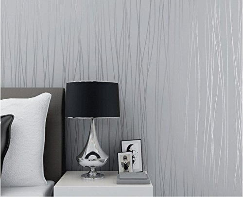 Modern Stripe Wallpaper (XGpie Modern Fashion Stripes Wallpaper Silver Grey Minimalist Luxury Wall Covering Home Decoration 1.8Ft x 32Ft (57 sq. ft))