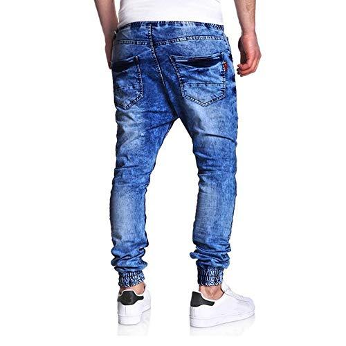 Pants Bleu Crayon Skinny En Homme De Serré Sarouel Jeans Casual Pantalon Éculée Cowboy Vrac Rera Loisirs Classique Élastique Trousers Trou Denim q8gwRxCU