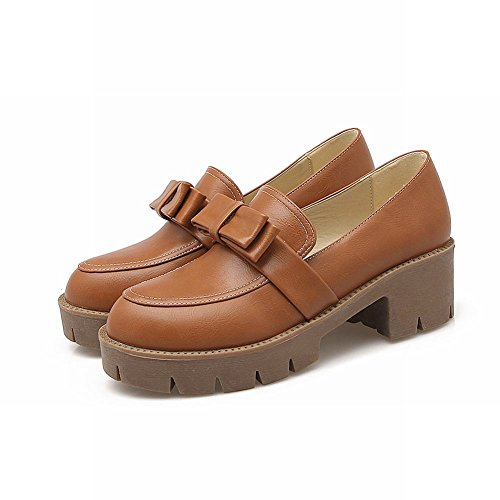 Womens Light Bow Brown on Chunky Heel Latasa Shoes Mid Loafers Slip 1dzxw1fq