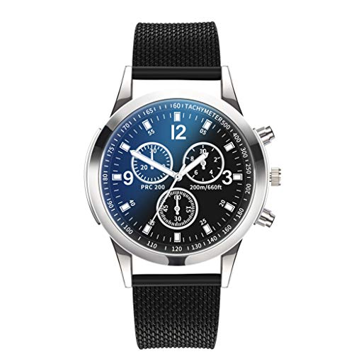 Becoler Men's Crystal Stainless Steel Analog Quartz Wrist Watch (Black)