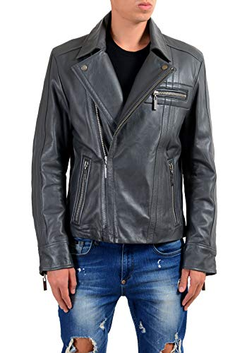 (Versace Jeans Men's 100% Leather Gray Double Breasted Jacket US L IT 52)