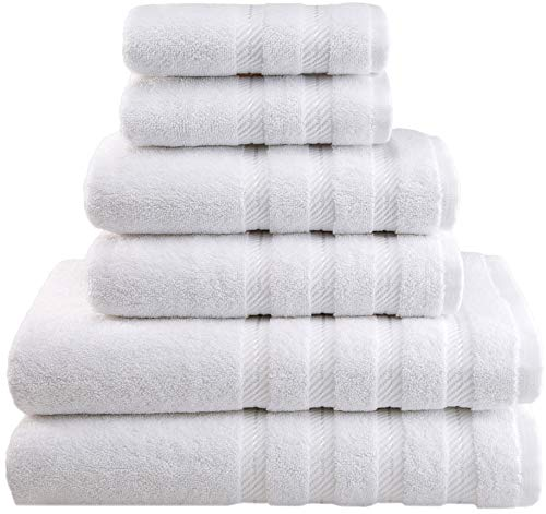 American Soft Linen 6-Piece 100% Organic Turkish Cotton Premium & Luxury Towel Set for Bathroom & Kitchen, 2 Bath Towels, 2 Hand Towels & 2 Washcloths [Worth $72.95] - Snow White (Pottery Bath Clearance Rugs Barn)