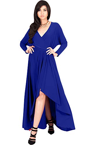 KOH KOH Womens Long Sleeve Sleeves Wrap Slit Split Formal Fall Winter Cocktail Sexy Flowy Evening Day Abaya Gown Gowns Maxi Dress Dresses, Cobalt/Royal Blue L 12-14