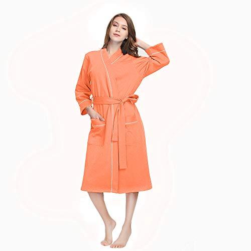 M&M Mymoon Womens Cotton Robe Soft Breathable Kimono Robes Knit Bathrobe Loungewear Short Sleepwear