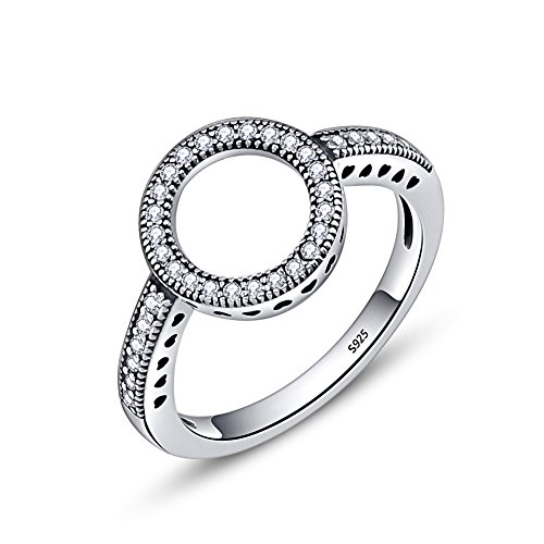 Sterling Open Circle - Presentski 925 Sterling Silver Open Circle Ring with CZ for Women and Teen Girls, Size 7
