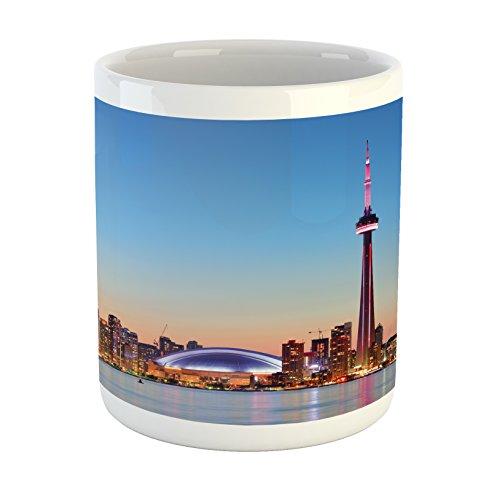 Lunarable Modern Mug, Canadian Skyline Toronto City with Lake Panorama at Evening Urban Scenery, Printed Ceramic Coffee Mug Water Tea Drinks Cup, Pale Blue Cinnamon