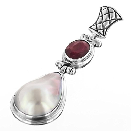 Handmade Teardrop Ruby Pear White Mabe Cultured Pearl 925 Sterling Silver Pendant, 2